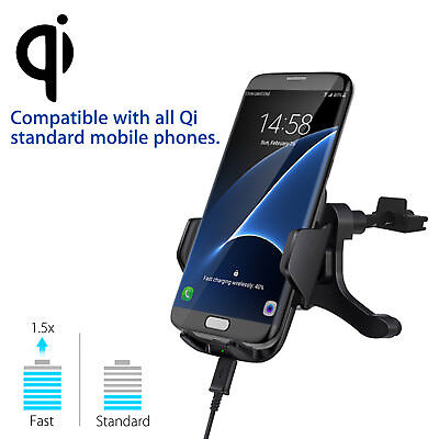 Fast Qi Wireless Car Charger Vent Mount Holder for Samsung S9 S8 iPhone X 8