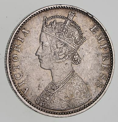 Roughly Size of Half Dollar - 1901 India 1 Rupee - World Silver Coin 11.7g *452