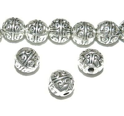 MB7102 Antiqued Silver 7mm Round Metal Beads 25pc