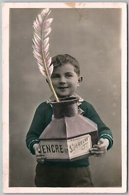 BOY w/ INKWELL PHOTOMONTAGE ANTIQUE EXAGGERATED real photo POSTCARD RPPC