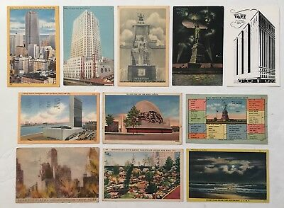 New York Linen and Real Photo Vintage 1930s 40s 50s Circulated Postcards 11 Lot