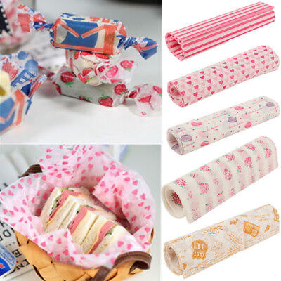 50Pcs Food Wrapping Wax Paper Hambur Sandwich Bread Candy Wrap Paper Disposable