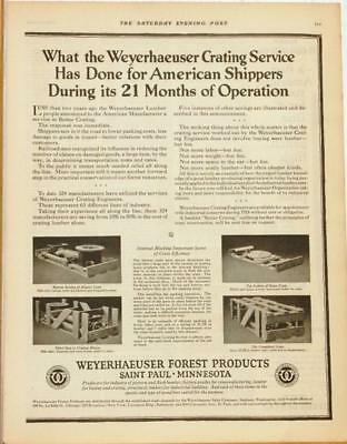 Large 1924 Weyerhaeuser Lumber Ad / Crating Service 2 Page Ad