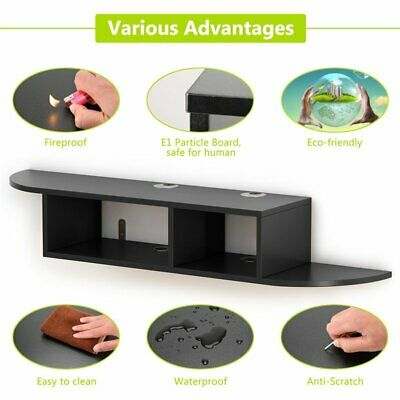 promo code bf592 a62a2 WOOD FLOATING WALL Mount Console Shelf Media Entertainment Center DVD Cable  Box