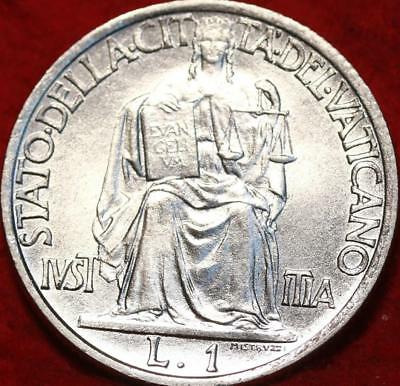 Uncirculated 1942 Vatican City 1 Lire Foreign Coin