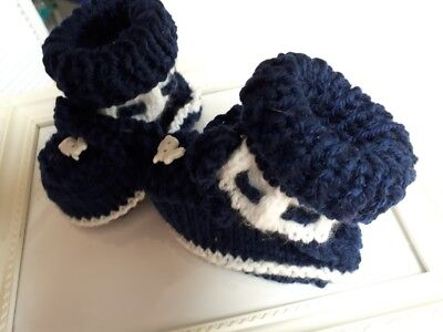 Babyboy Hand Knitted Bootees Navy And White Rabbit Button On Front