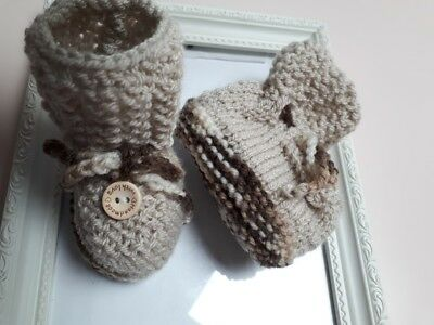 Babyboy Hand Knitted Bootees Light Brown And Mix Browns Button Front Handmade
