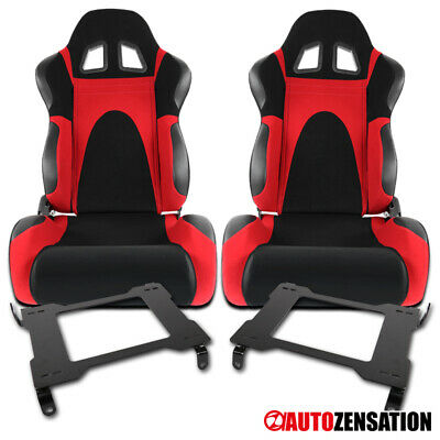 05-14 Ford Mustang Black/Red Faux Suede PVC Racing Seats+Laser Welded Brackets