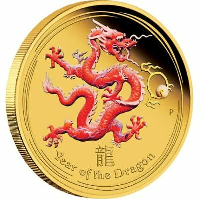 2012 Australia Year of the Dragon 1oz 99.99% GOLD Proof Colour Coin, Perth Mint