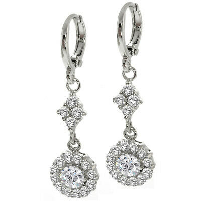 1.70 Ct Stunning Round Cut White Cubic Zirconia with Accent CZ Earrings
