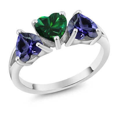 Gem Stone King 0.35 Ct Round Green Simulated Tsavorite 18K Yellow Gold Plated Silver Ring