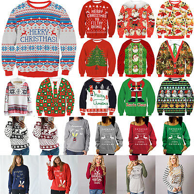 Unisex Ugly Christmas Hoodie Sweater Santa Women Xmas Jumper Sweatshirt Tee Tops