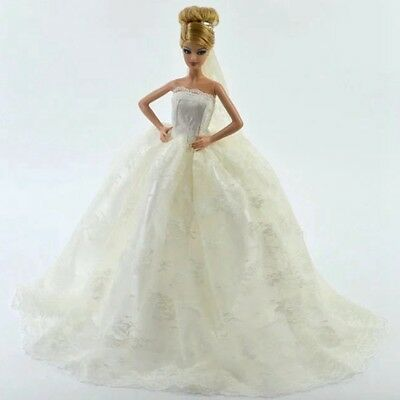 Handmade Princess Wedding Party Dress Clothes Bridal Gown + Veil For Barbie Doll