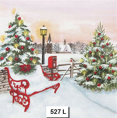(527) TWO Individual Paper Luncheon Decoupage Napkins - CHRISTMAS, BENCH, SNOW