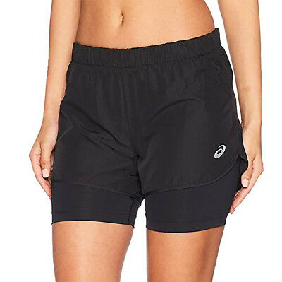 a2cb68b0018 ASICS 2 IN 1 Womens Running Shorts Blue Gym Sports Training Workout ...