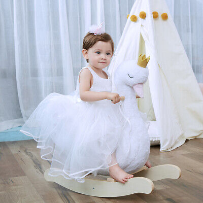 White Plush Swan Wooden Rocking Horse Toys Toddler Baby Ride On With Seat Chairs