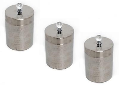 Set of 3 Hammered Stainless Steel Tea Coffee Sugar Storage Tin Box Canister