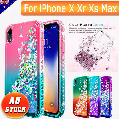 Bling Dynamic Glitter Moving Quicksand Liquid Case Cover For iPhone X Xr Xs Max