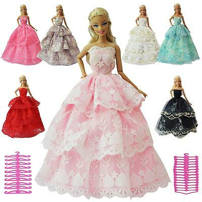 "6PCS For 11.5"" Doll Dress Clothes Accessories Wedding +6x Hangers Random Style"