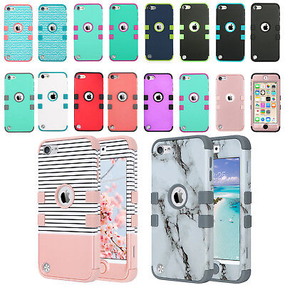 iPod Touch 5th 6th Gen Case Soft Hybrid Armor Impact Shockproof Defender Cover