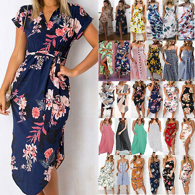 Plus Size Womens Beach Floral Print Sundress Holiday Ladies Party Midi Dresses