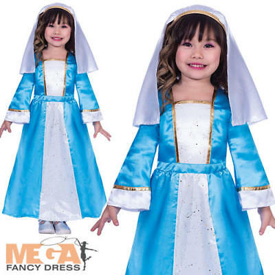 Ladies Virgin Mary Costume Christmas Nativity Fancy Dress Womens Outfit