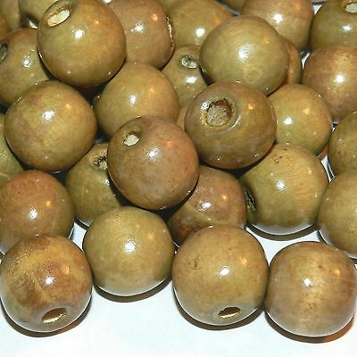 W660 Brown 16mm Semi- Round Wood Beads 1oz Package (18pc)