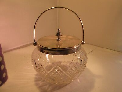 silverplated and cut glass jar with lid c1900