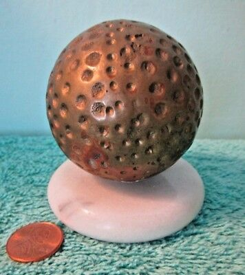 Vintage Heavy Brass Golf Ball on White Marble Base, Paper Weight