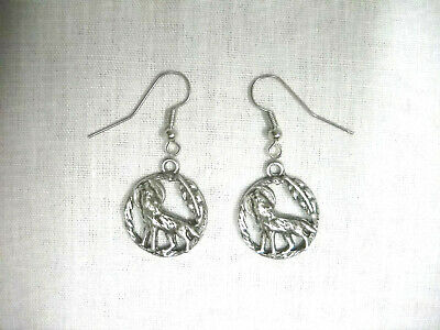 Usa Pewter Full Moon - Howling Wolf - Feather Deco Round Dangling Charm Earrings