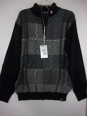 NWT Stacy Adams Men's Large 1/4 Zip Gray/Black Geo Square Design Sweater