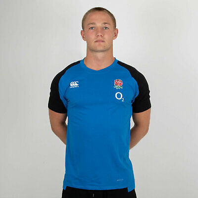 Canterbury Mens England 2018/19 Performance Cotton Rugby T-Shirt Sports Top Blue