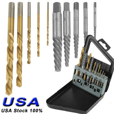 10pcs Screw Extractor | Drill & Guide Set Remove Broken Bolts Fasteners Easy Out