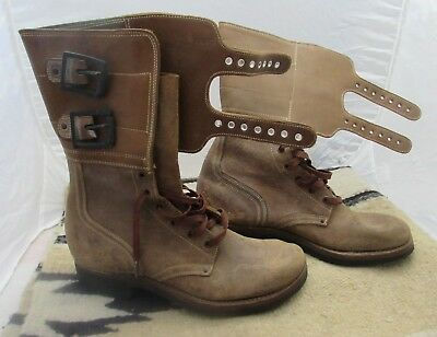 Exc Condition Wwii Era Usa Airforce Issue Double Buckle  Brown Boots