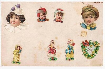 """Hand Made Postcard Of Litho Graphic Children's """"scraps"""", 1911"""