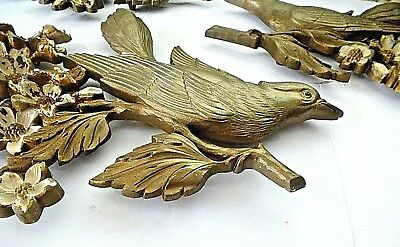 Vintage Syroco BIRDS DOGWOOD BLOSSOMS Wall Hanging Plaques 3 pc 1960s