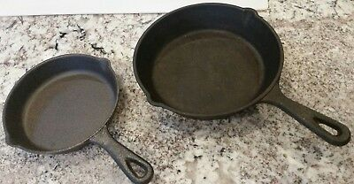 SET OF 2 Cast Iron Skillet Pre-Seasoned Frying Cookware Pot Oven Cooking Fry Pan