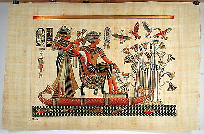 "Egyptian Papyrus - Hand Made - 16"" x 24"" - Ancient Art -King Tut In The Swamp"