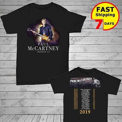New Paul Mccartney t Shirt 2019 Freshen Up Concert Tour T-Shirt Size Men Black
