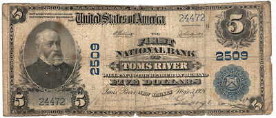 1902 $5 The First National Bank of Toms River, New Jersey Ch 2509 Very Good