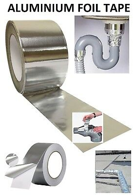 45m x 48mm Aluminium Foil Tape Roll Self Adhesive Duct Insulation Reflective