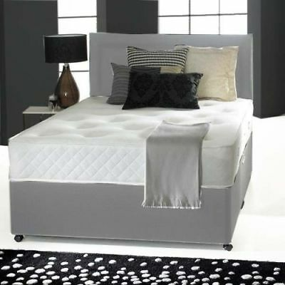 GREY MEMORY FOAM DIVAN BED SET WITH FREE MATTRESS HEADBOARD 3FT 4FT6 Double 5FT