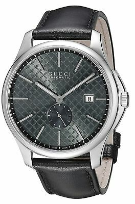 022fbf659b2 Gucci G-Timeless Swiss Automatic Grey Dial Black Leather Men s Watch  YA126319