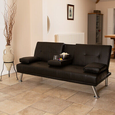 Brown Faux Leather Sofa Bed Modern 3 Seater Settee Futon Z Bed Armchair Wido