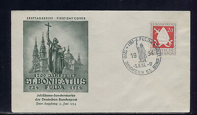 BUND: BONIFATIUS: MiNr. 199; FULDA 5.JUNI 54 => FIRST DAY COVER