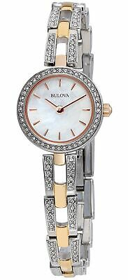 Bulova Crystals White Mother of Pearl Dial Two Tone Women's Watch 98L212 SD