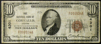 $10 First Natl Bank of Corvallis, OR ~ LOW SERIAL #000934 ~ SCARCE VF NOTE