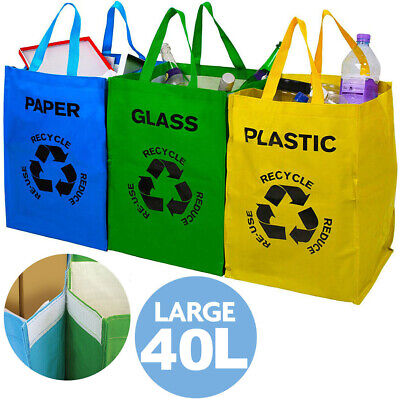 Set of 3 Large Recycling Bags Bin 53L - Paper Glass Plastic Waste Bin Bag Sack