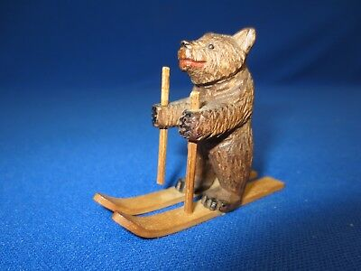 Antique Carved Wooden Black Forest Skiing Bear