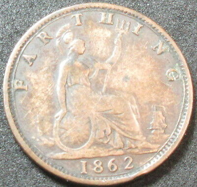 1862 Great Britain Farthing Coin